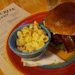 Spicy bleu burger with Cougar Gold Mac-n-Cheese.