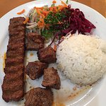 Ground lamb & Lamb shish kebob entree