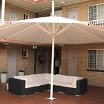 Terrace sofa and umbrella