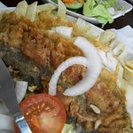 rossi`s original swansea plaice (from other side, flipped over on plate)