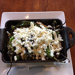 blistered peppers, goat cheese, corn appitiser