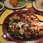 Awesome fajita platter called The Sheriff, HIGHLY recommended with generous portions of shrimp,