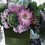 Gorgeous flower arrangements change weekly. Seasonal flowers, colors.