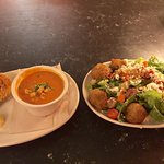 Tomato bisque soup and falafel salad