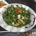 Rocket, halloumi, pine nut salad with pomegranate vinaigrette