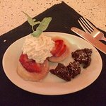 Strawberry shortcake and chocolate and chocolate truffles......amazingly delicious!