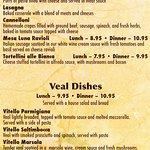 Menu Page 4 - Notice Lasagna description & price is higher