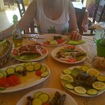 Stuffed peppers, village sauage, dolmades and tomator and cucumber salad