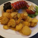 Surf and turf with roasted potatoes