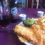 Fish chips and mushy peas, superb!