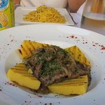 Venetian-style veal liver with polenta