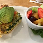 My quiche was excellent -abundant with advacado. Fresh fruit =great !