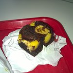 Dessert: brownie choco / banane flambée