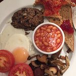 Hearty vegetarian haggis breakfast. Delicious!