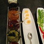 Pesto !!! YUM ! Cheese, marmelade... lots of choice !!