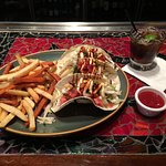 Skirt Steak Taco and 50/50 fries