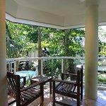Balcony, overlooking resort pool