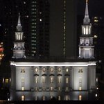 Rainy night time view of new Mormon Temple