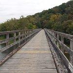 Trail bridge high over the New River