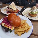 Mushroom Burger, Smashed Avo w/ poached eggs, Sanwiched French Toast