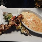 chicken brochette with yuca mash
