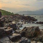 Sunset at Nam O beach, Danang city, Vietnam
