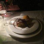 Almond tart with mandarin sorbet