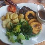 Rump steak with new potatoes.