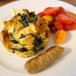 Spinach and Egg Frittata with Cherry Tomatoes and Sausage