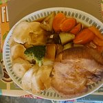Roast beef, roast chicken and apple crumble.