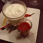 Fromage blanc coulis framboise