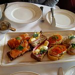 Open faced sandwiches. Loved the goat cheese with tomato.