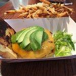 Green Lantern burger with truffle fries