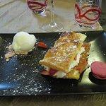 Millefeuille au fraises, crème mascarpone et glace yaourt