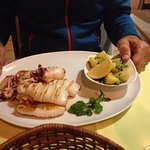 Grilled squid plus potatoes & Swiss char--the national veggie dish of Croazia