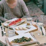 Bruschetta, pecorino and kale crostone