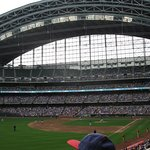 A view from left field of the retractable roof