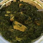 Chicken saag: Boneless chicken cooked w/a touch of cream w/chopped spinach, onion, ginger, garli
