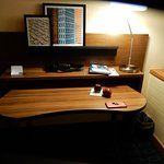 desk with bright light and easily accessible electrial outlets