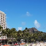 Front of hotel with Diamond Head in the background