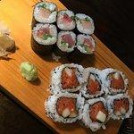 Hubs' sushi: Yellowtail + jalapeño roll $6 and spicy tuna roll $7