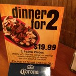 Advertised dinner special