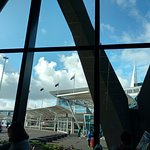 View of Auckland airport from hotel lobby
