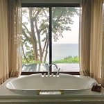 Bath overlooking our private pool with a view