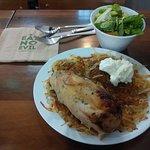 Chicken with rosti, side salad