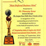 """Award for the """"Most Preferred Business Hotel"""" by Hospitality India"""