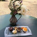 Trio of dessert, Chocolate fondant, salted caramel semifredo and panna cotta with apricot
