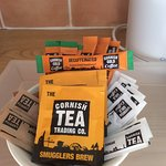 Lovely Cornish tea and coffee in our room.