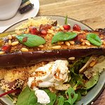 Baked aubergine and pomegranate seed lunch box