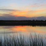 sunset over wetlands